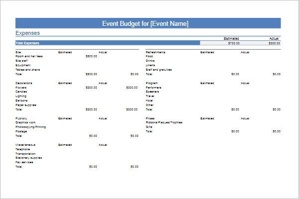 Documentary Film Budget Template