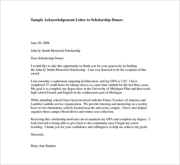 DonorAcknowledgement Letter Sample
