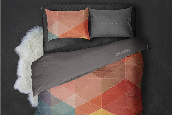 Double Bed Set Mockup