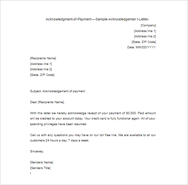 Download Acknowledgement Letter Template