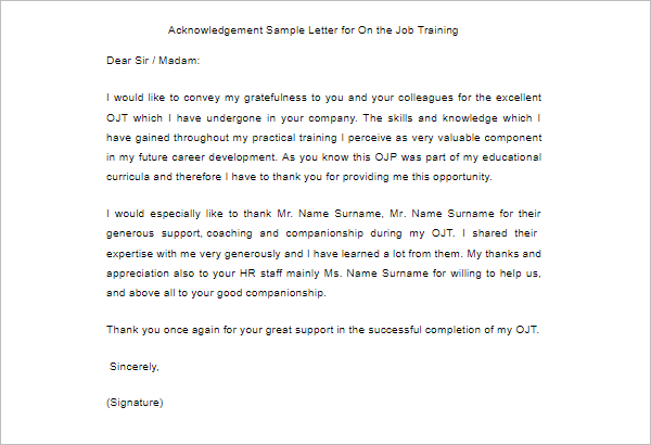 40 free acknowledgement letter templates pdf sample formats acknowledgement sample letter altavistaventures Gallery