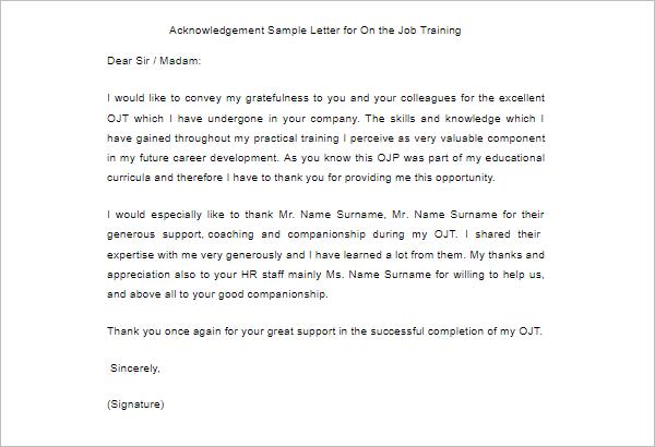 Download Acknowledgement Sample Letter