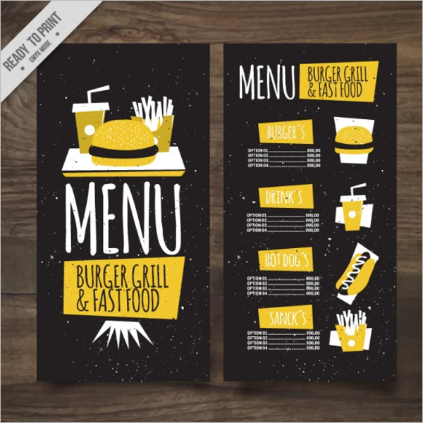 Drink Menu Card PSD Free