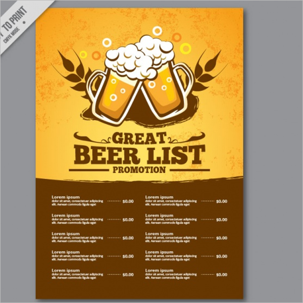 Drink Menu List Example