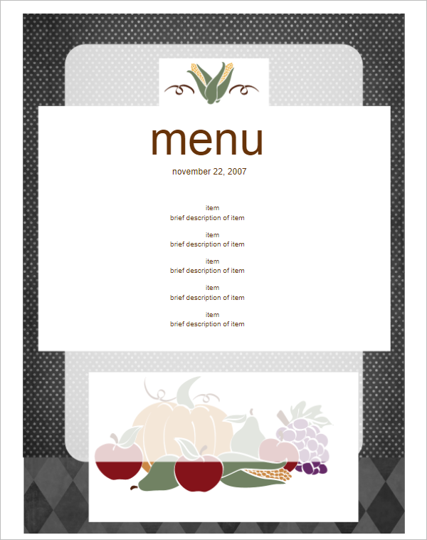 Elegant Menu Card Design