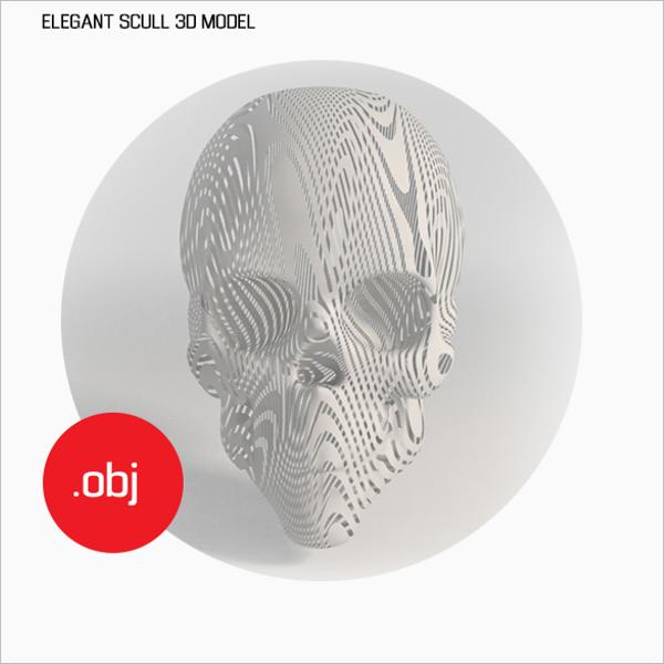 Elegant Skull 3D Design