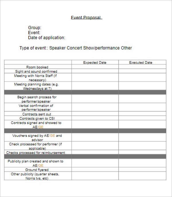 Event Grant Proposal Template