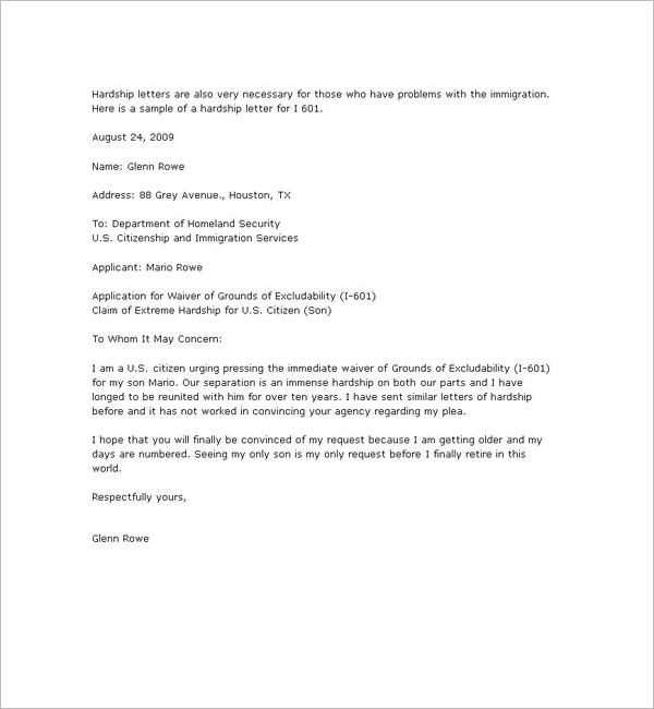 Immigration Hardship Letter Sample from www.creativetemplate.net