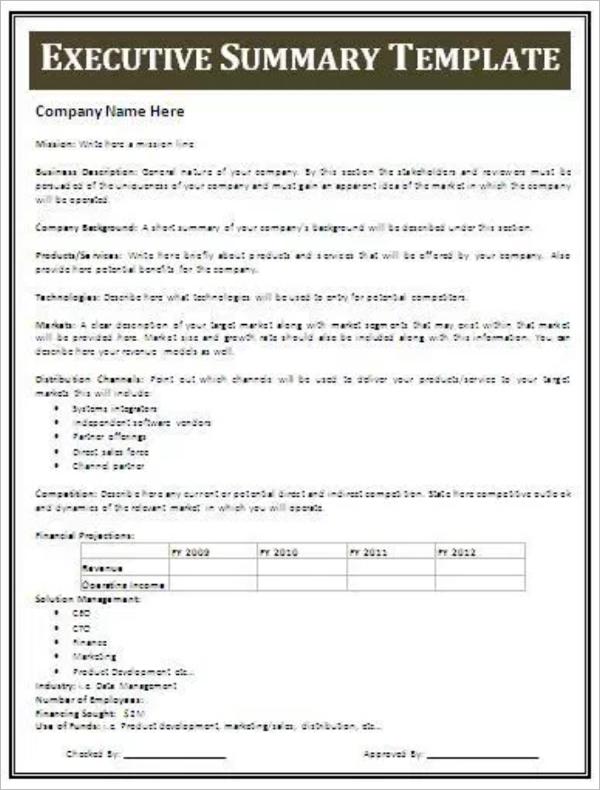 Executive Summary CV Template