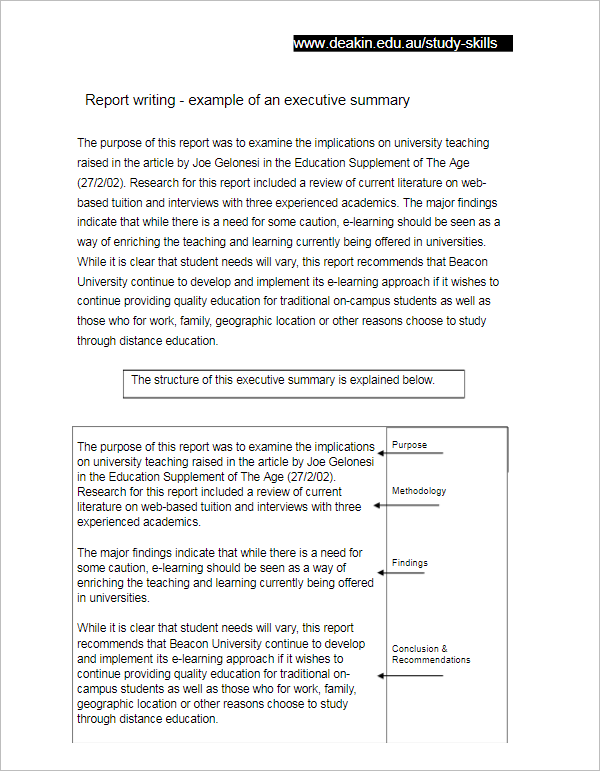 Executive Summary Template for Report
