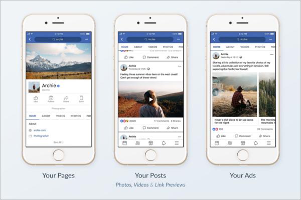 Facebook Mobile Ad Mockup Template
