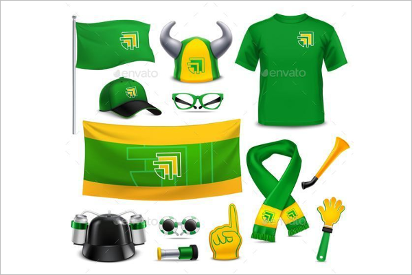 Fans Supporters Realistic Mockup Accessories