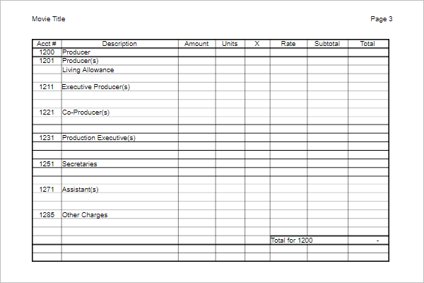 Film Budget Template Excel