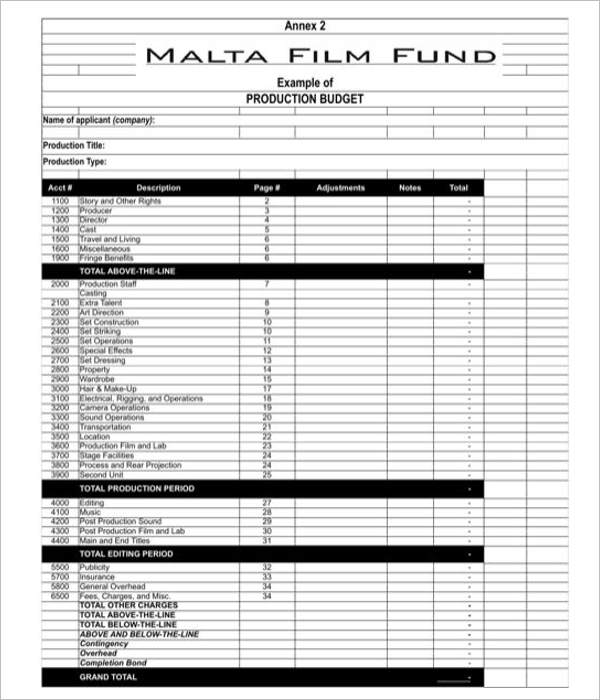 Film Budget Template Word