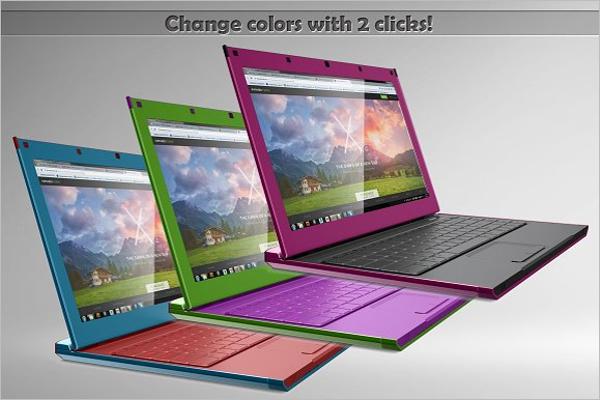 Flat Laptop Mockup
