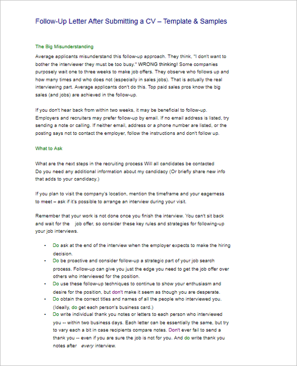 15 Free Follow Up Letter Templates Sample Word Formats