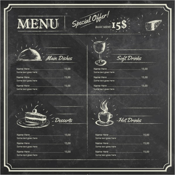 Free Chalkboard Drink Menu Template
