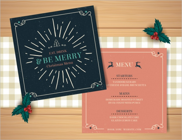 Free Christmas Party Menu Card Idea
