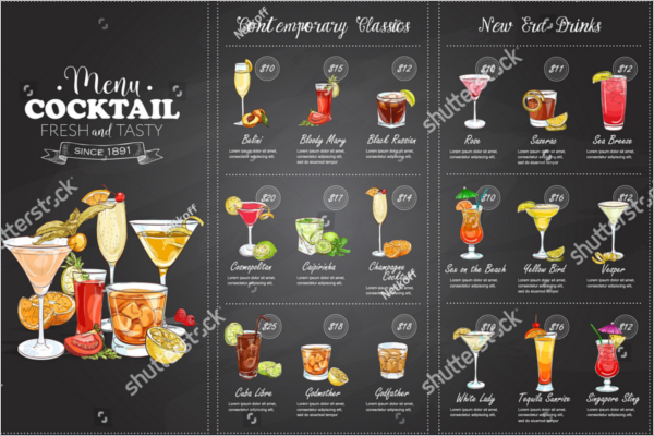 Free Cocktail Menu Card Design