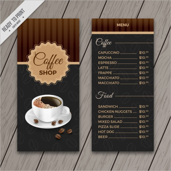 Free Coffee Drink Menu Design