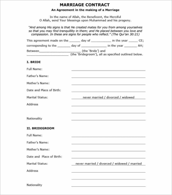 Free Download Marriage Contract Template