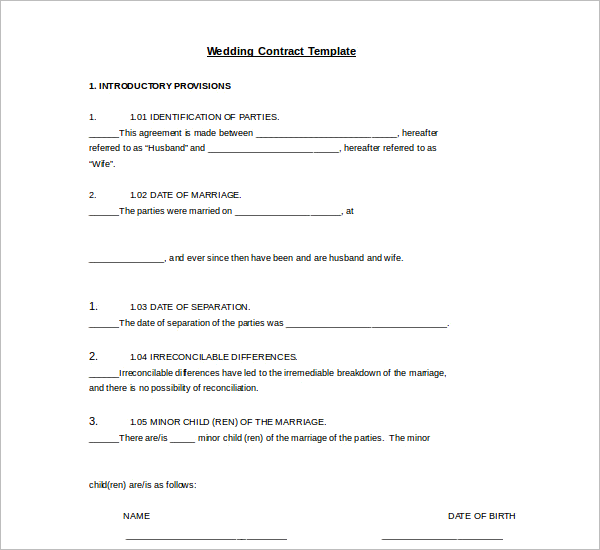 Free Download Wedding Contract Template