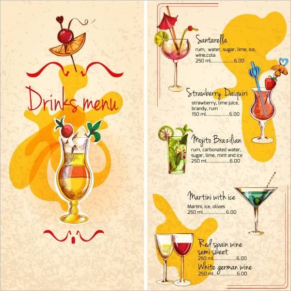 Drink Menu Template Free | 54 Drink Menu Templates Free Psd Word Design Ideas