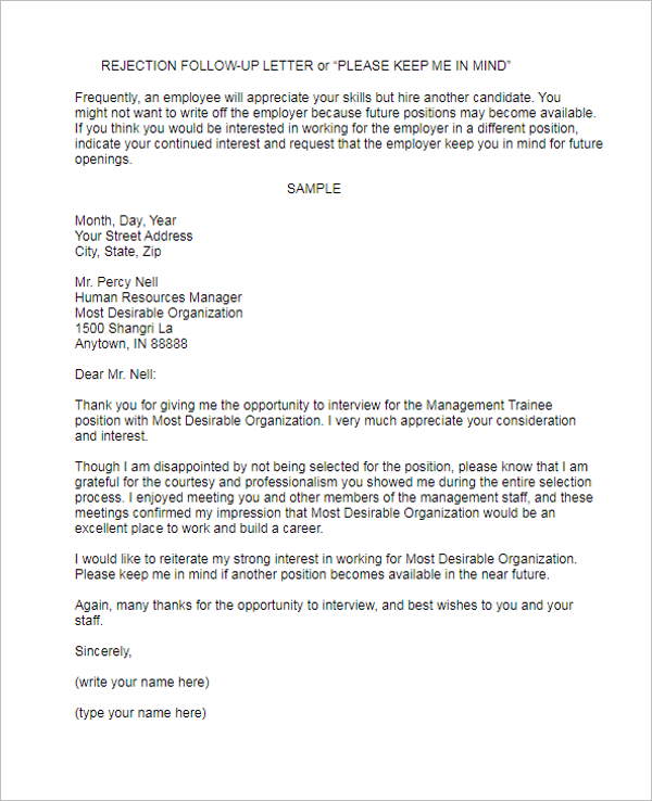 Free Follow Up Letter Template