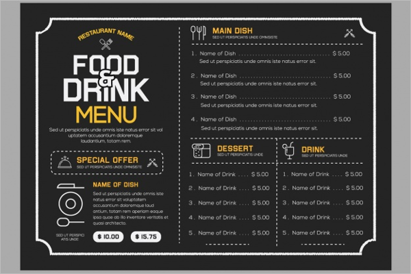 Free Food & Drink Menu Idea