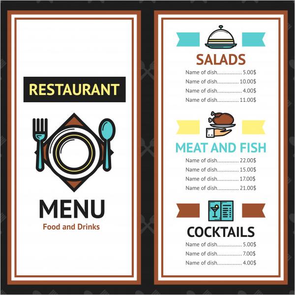 Free Food Menu Card PSD