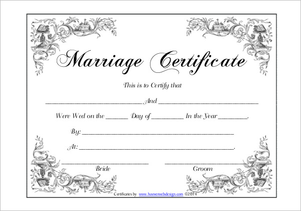 FreeMarriage Certificate Form Template