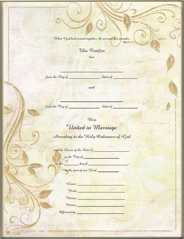 Free Marriage Certificate Template PSD