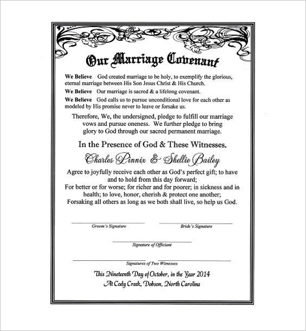 Free Marriage Contract Sample