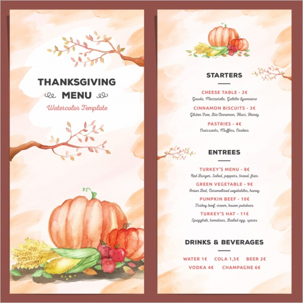 thanksgiving menu template gallery template design ideas. Black Bedroom Furniture Sets. Home Design Ideas