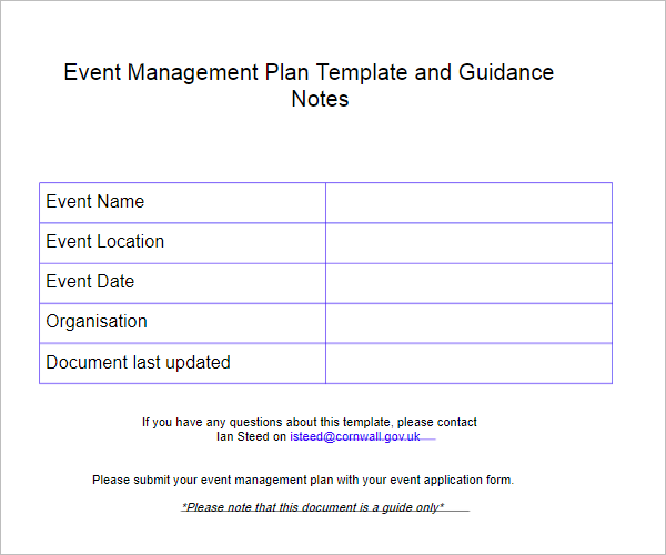 Free Sample Event Proposal Format