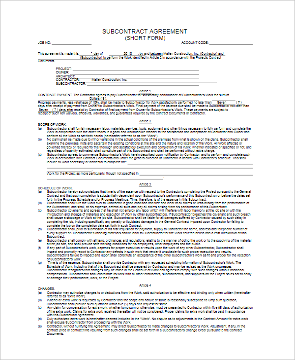 Free Subcontractor Agreement Form