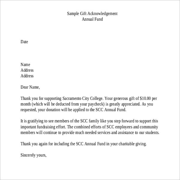 GiftAcknowledgement Letter Template