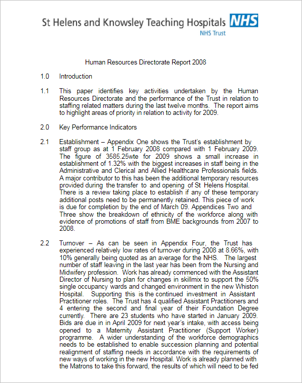 HR Report Template Word