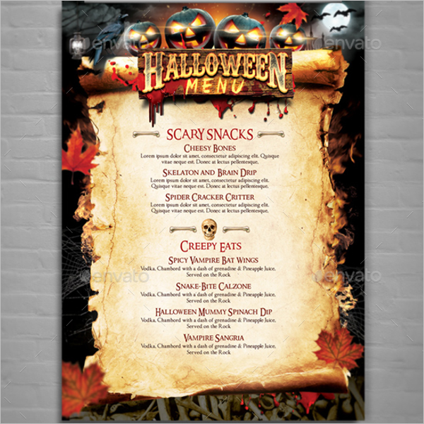 Halloween Party Menu Design