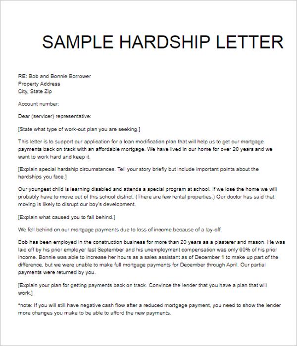 Hardship Letter Example