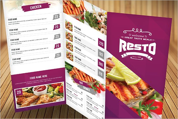 High Resolution Menu Card Template
