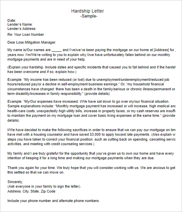 Hardship Letter for Short Sale