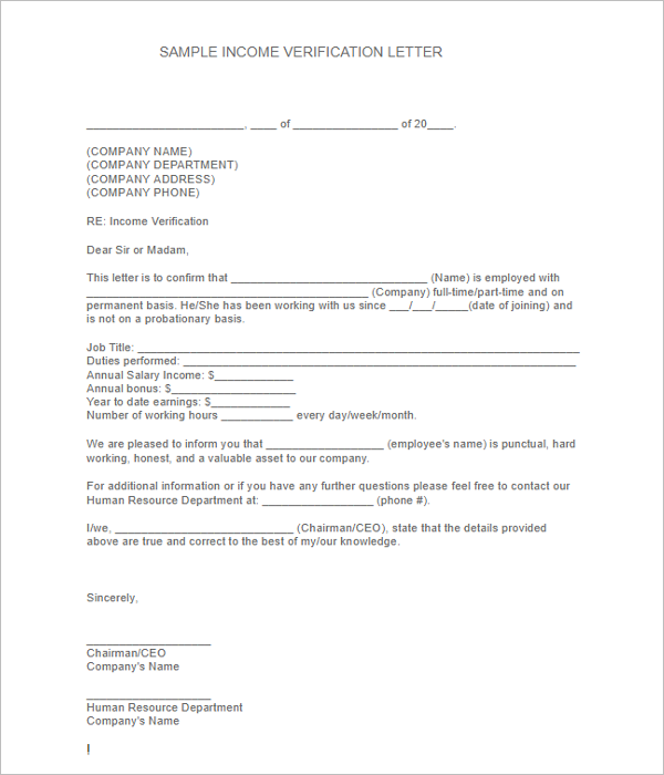 Income Verification Letter Template