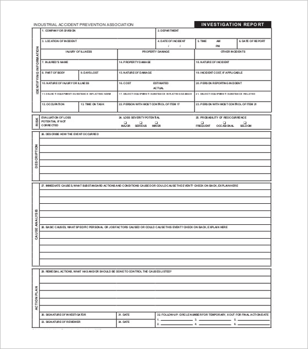 Investigation Report Format Word
