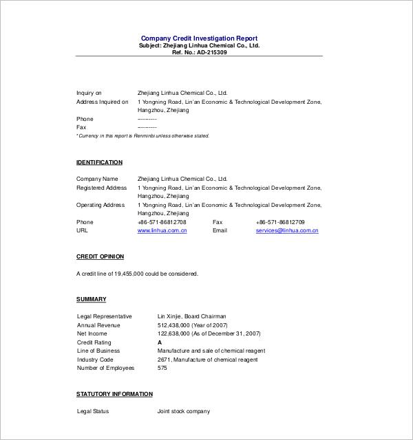 Investigation Summary Report Template