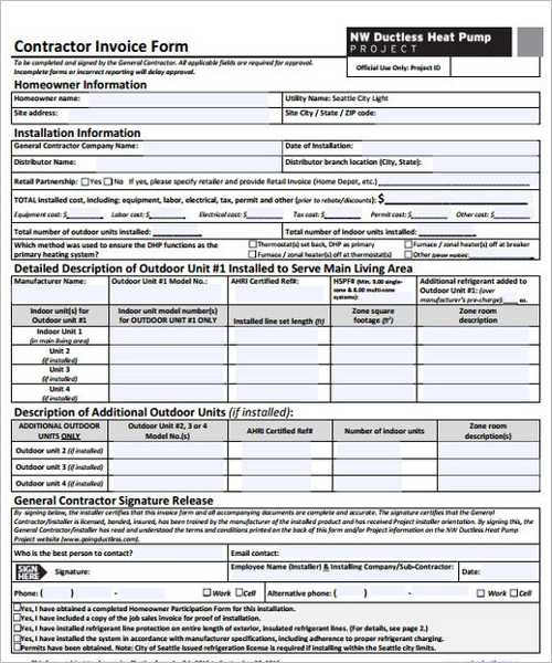 Invoice Template For Contractor