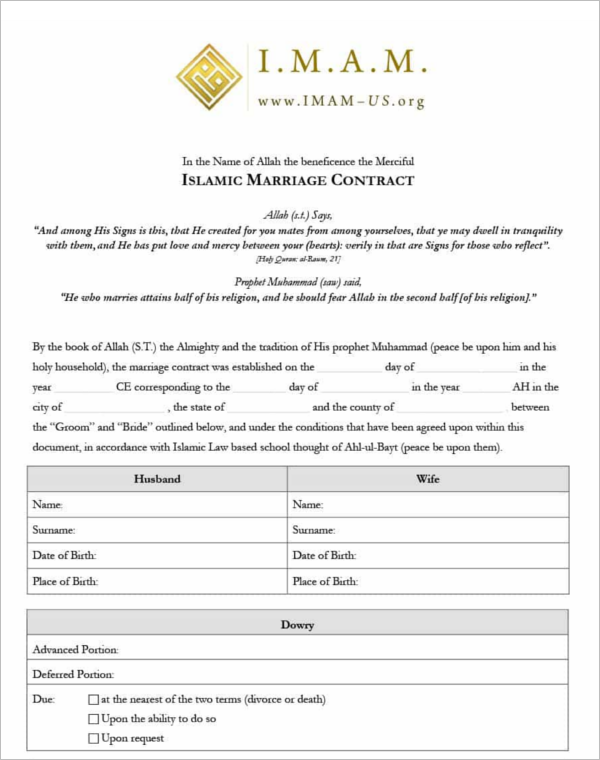 Islamic Marriage Agreement  Contract Sample