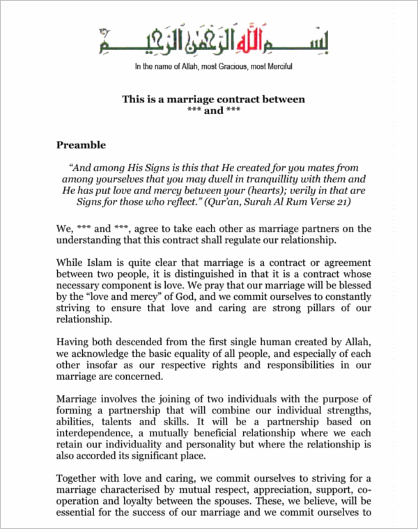 IslamicMarriage Contract Template