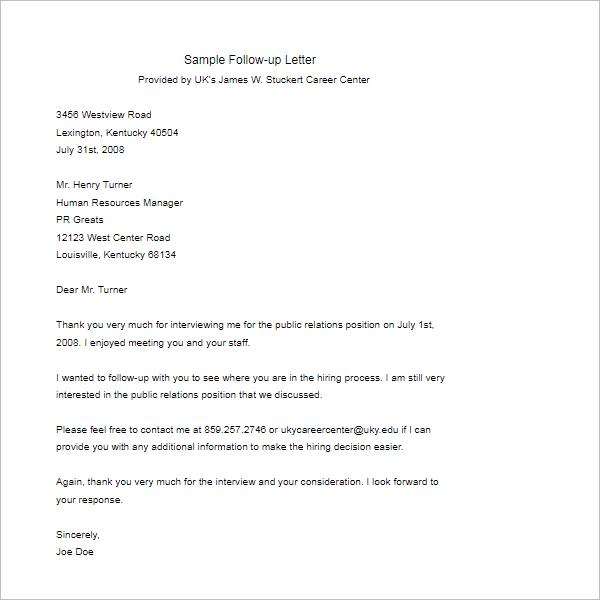 Job Follow Up Letter Template