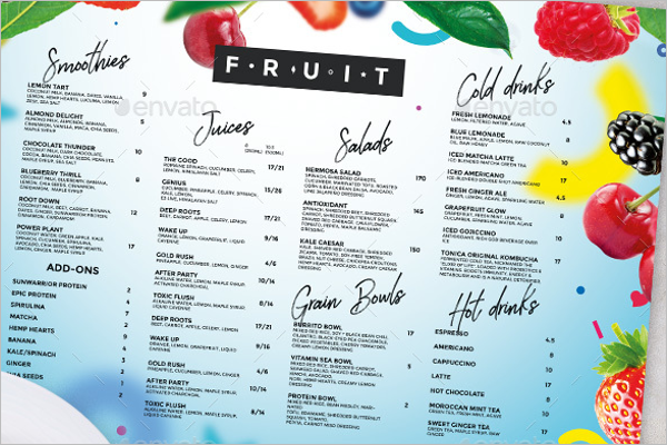 Juice Drink Menu Template